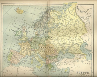 1893 Map of Europe from Reference Book Illustration Supply Art Frameable FREE SHIPPING