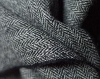 Herringbone Harris Tweed Grey with label extra wide 150 cm hand-woven Shetland wool