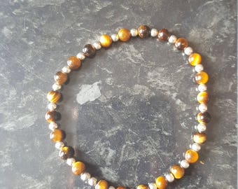 Silver (925) 2mm and 3mm tigers eye beaded bracelet