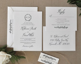 English Garden Wedding invitation, Wedding Invitation, Monogram Invitation - Deposit