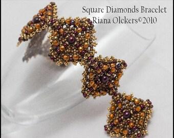 Beading  Pattern, Right Angle Weave Technique Pattern - Square Diamonds Bracelet pdf Pattern