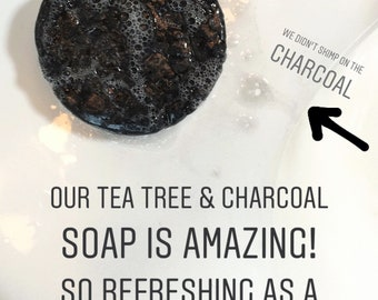 Charcoal & Tea Tree Face Bar, Cold Process Soap