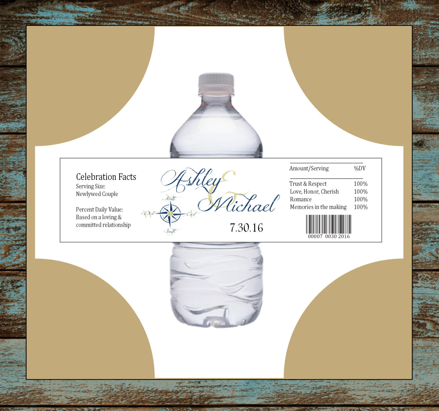 Nautical Compass Anchor 100 water bottle labels - Wedding favors