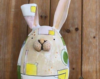 Large Ceramic Rabbit Figurine, Spring Rabbit Gift, Handmade Clay Bunny Miniature, Cute Pottery Animal Figurine, Artist Edrian Thomidis