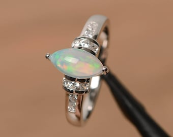 opal engagement ring natural white opal ring October birthstone marquise cut gemstone sterling silver ring