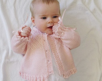KNITTING PATTERN-Baby girl jacket with detailed bodice P025