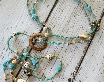 Beaded Lariat, Lariat Necklace, Boho Chic Necklace, Gypsy Necklace, Beach Jewelry, Turquoise Necklace, Beaded Necklace, Long Beaded Necklace