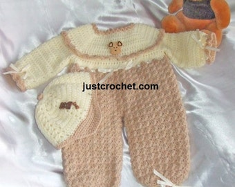 Peaked cap and all in one suit Baby Crochet Pattern (DOWNLOAD) 16