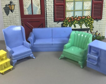 "MARX LIVING ROOM, 5 Pieces, Hard Plastic, 3/4"" Traditional Scale, 1950's Marxie Mansion, Vintage  Dollhouse Furniture"