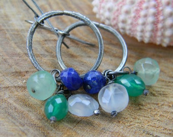 gorgeous rings of cool gems - dangle earrings - oxidized silver