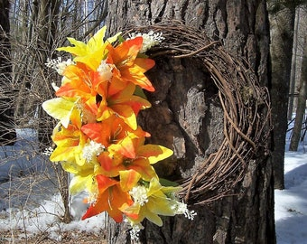 Grapevine Wreath.  Yellow and Orange Tiger Lilies and White Lilac.  Wall decor, door wreath.