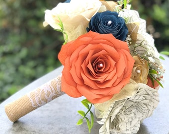 Country Chic Wedding Bouquet in Burnt Orange, Navy blue and Champagne Paper Flowers