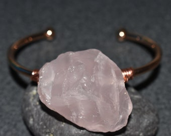 raw rose quartz bangle cuff, raw crystal bangle, rose quartz cuff bangle