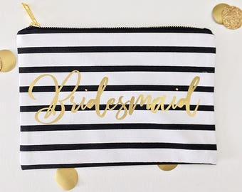 For bridesmaids gifts - Striped bag - Bridesmaids gifts - Makeup bag