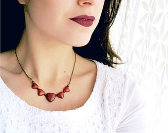 Red Heart Necklace, Red Jasper Necklace, Natural Stone Necklace, Gemstone Heart Necklace, Red Gemstone Necklace, Love Jewelry for Women
