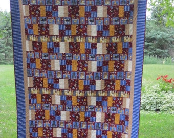 Puppy Love Quilt ,patchwork, twin size, red, gold, blue, machine quilted, cotton