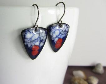 Enamel Blue Earrings, Handmade Dangle Earrings, Enamel Copper Triangle, Handmade Enamel Jewelry, Red Earrings,