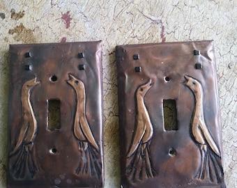 Pr of Craftsman Style Bird Switchplates