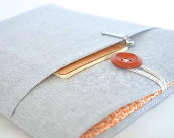 "Laptop Sleeve Laptop Cover, Chromebook Case Custom Size 11.6"", 13.3"", 14"", 15.6"", Surface Pro Cover - Gray Linen + Orange Floral"