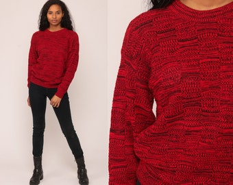 Red Sweater 80s Space Dye Slouchy Pullover Sweater Jumper Hipster Vintage Acrylic Knit Sweater Normcore Medium Large