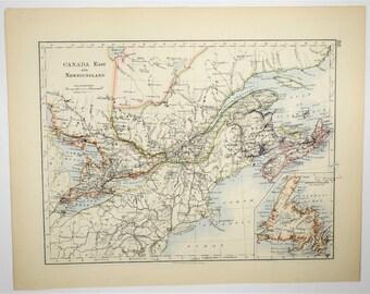 1895 Antique Newfoundland Canada Hand Colored Map