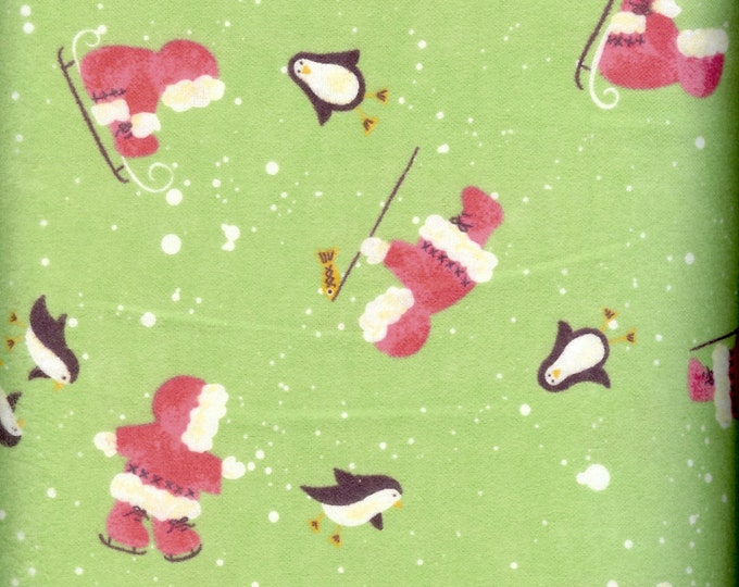 Eskimo and penguin  FLANNEL fabric, sold by the yard  #231