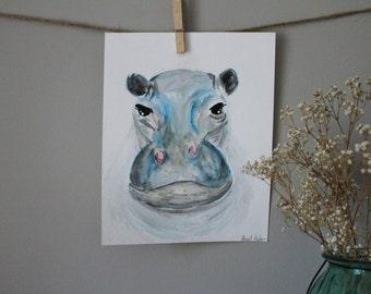 ORIGINAL Watercolor Baby Nursery Safari Animals Wall Art Hippo