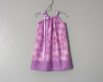 New! Little Girls Purple Pillowcase Dress - Purple and White Asters on Lavender - Girls Sundress - Size 12m, 18m, 2T, 3T, 4T, 5, 6, 8  or 10