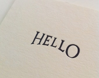 HELLO letterpress card