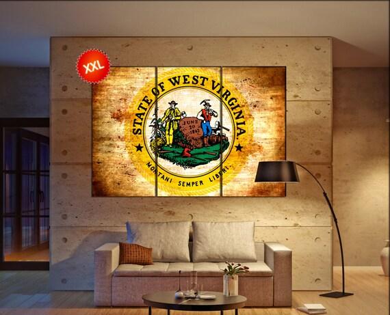 west virginia seal flag  canvas west virginia seal flag wall decoration west virginia seal flag canvas art large canvas
