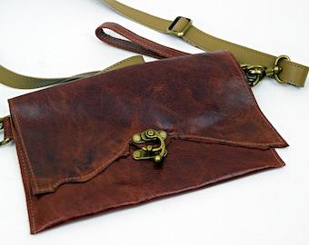 Braun OOAK Ledergeldbörse mit braunem Leder Riemen und Wristlette Riemen