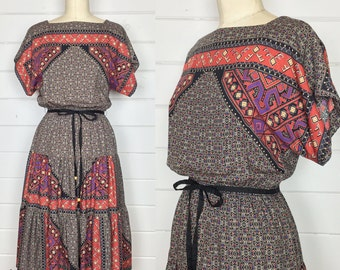 Vintage 1970s Geometric Print Rayon Dress / Tiered Skirt / Dolman Sleeve / Made by JT Dress