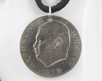 Haiti Coin Necklace, 20  Centimes, Mens Necklace, Womens Necklace, Coin Pendant, Leather Cord, Birth Year, 1975