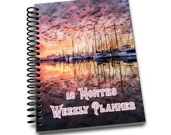 12 Months Weekly Planner: Undated Weekly Planner | 2 pages per week | Notes | Pink Boat Sunrise
