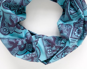 Turquoise Cotton Infinity scarf with Bird print - Light cotton tube loop scarf - Chunky modern scarf - Long infinity scarf