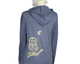 Navy Blue Coffee Night Owl Screen Printed Long Sleeved Hoodie, Bird, Sustainable, Eco-Friendly, Men, Women, Unisex - Gifts for Him or Her