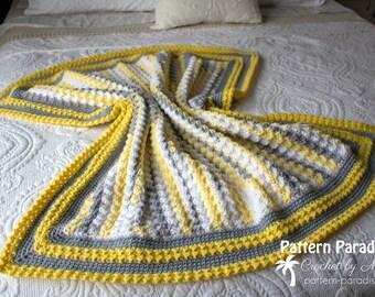 Crochet Pattern Baby Blanket, Afghan, Throw, Lemonade, Baby Gift, Bedspread, Crib Blanket