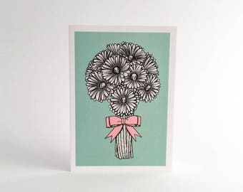"""Greeting Card Just Because A6 (4.1x5.8"""") Cat Skull, Gerbera Daisies - Forever Bouquet. Christmas Card."""