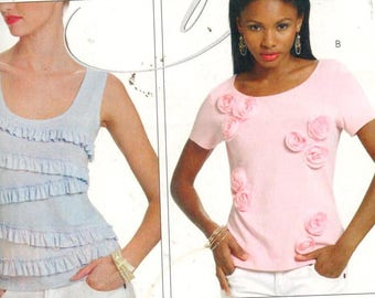 """McCalls MP340, Sz 16-22/L-XL/Bust 38-44"""".  Ladies Scoop Neck Ruffled/Embellished Knit Top/Tank Top, UC pattern directions English/Spanish."""