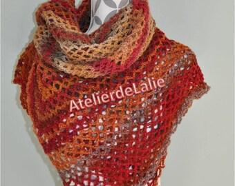 Shawl, wrap, shoulder warmer, scarf/shawl handmade in shades of orange brown