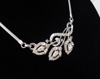 Vintage Rhinestone Choker, Diamond Rhinestones on Snake Chain, Wedding Jewelry, Bridal Bridesmaid Gift