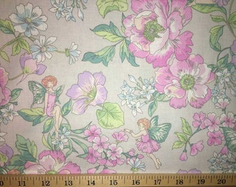 Fairy Floral Garden Fabric Peony Fairies & Flowers on Gray Cotton Apparel Fabric By the Yard Half Yard a4/38