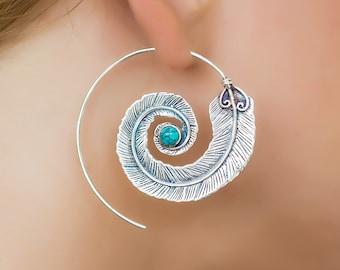 Sterling silver spiral earrings. boho earrings. bohemian jewelry. large earrings. feather earrings. hippie earrings. tribal jewelry.