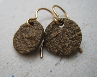 Unpolished Textured Bronze Disk Earrings - Bronze Earrings - Textured Earrings - Unpolished Earrings