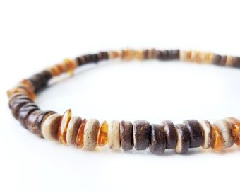 Men's wooden necklace made from genuine amber and brown coconut shell - Pine Resin