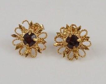 14k Yellow Gold Garnet Flower Look Earrings