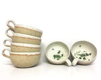 White and green handmade coffee mug - Coffee mug pottery handmade - Ceramic mug stoneware - Breakfast ceramic mug - Coffee lover pottery mug