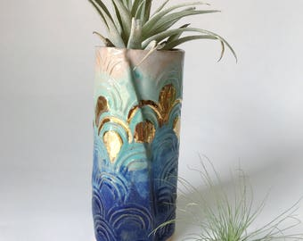 Narrow Blue Ombre ceramic vase - death valley red clay blue & turquoise glazes, 22k gold accents