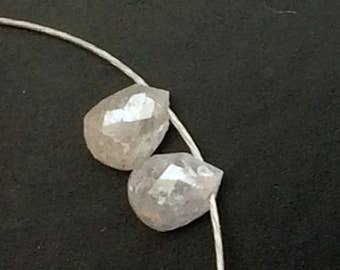 2 Pcs White Raw Diamond Briolette Beads, 2.7X3.5mm, Matched Pair Natural Rough Diamond Tear Drops, Raw Diamond, Raw Faceted Diamonds - DDP17
