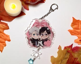 Ice Skating Anime Boys Glittery Dangling Keychain